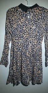 Leopard Printed Long Sleeve Dress
